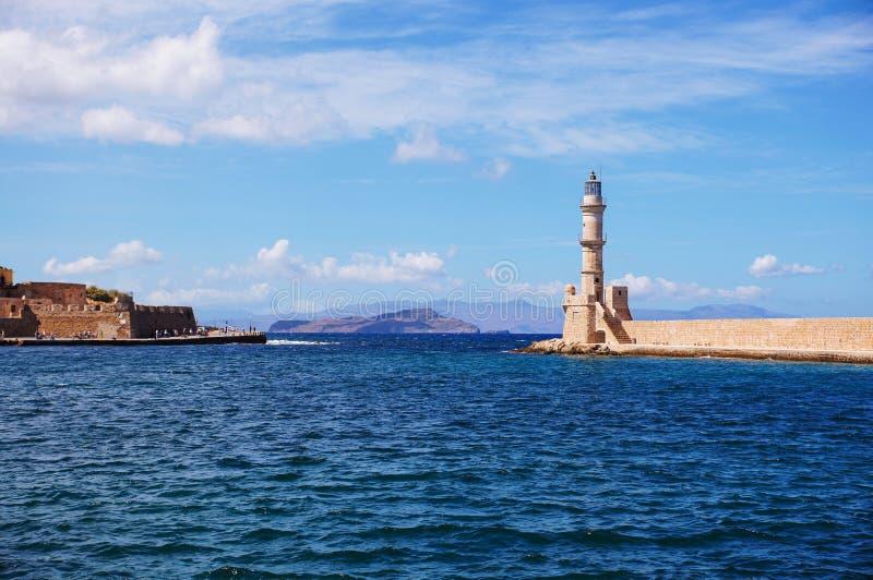 Vuurtoren in Griekenland royalty-vrije stock afbeelding