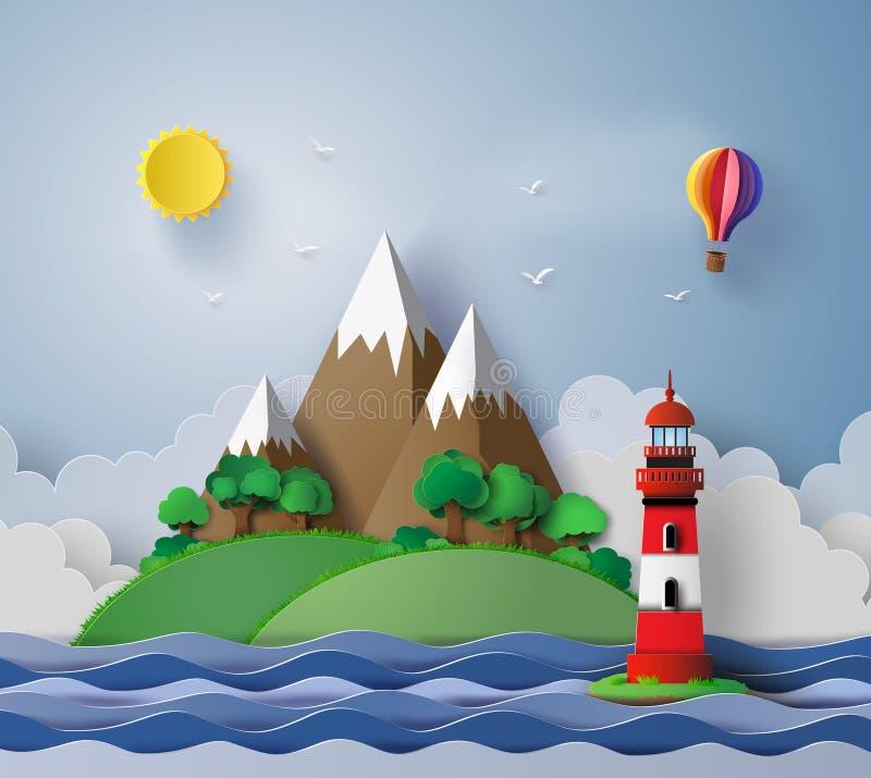 vuurtoren met eiland en zeegezicht vector illustratie