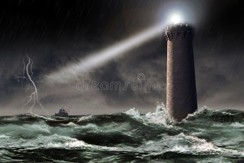 Vuurtoren onder het onweer stock illustratie