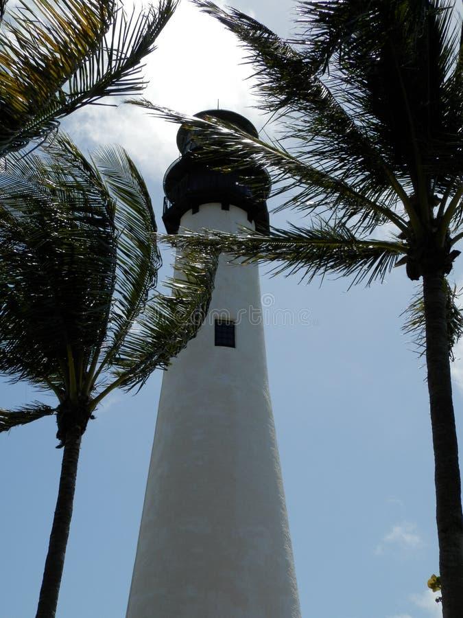 Vuurtoren op Biscayne-Baai, Florida stock afbeeldingen