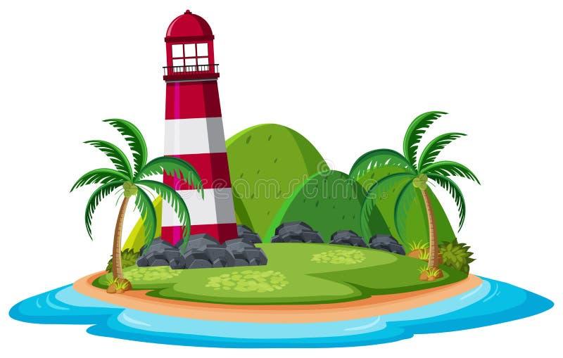 Vuurtoren op het eiland stock illustratie