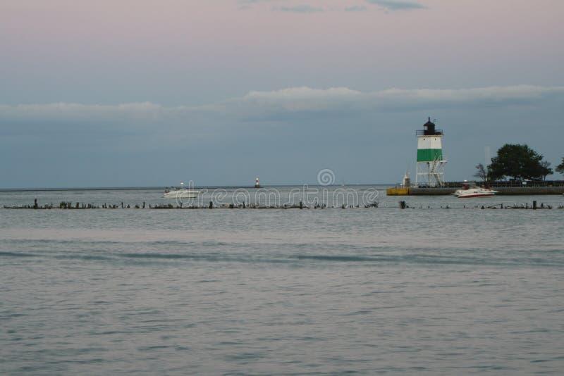Vuurtoren op Meer Michigan 3 stock foto
