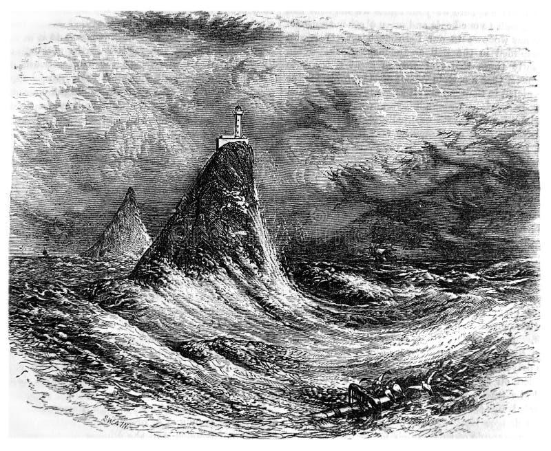 Vuurtoren op zee tijdens een onweer vector illustratie