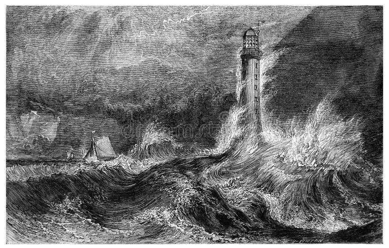 Vuurtoren op zee tijdens een onweer stock illustratie
