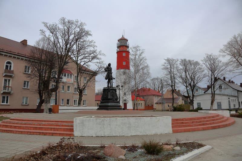 Vuurtoren Pillau, Baltiysk, Rusland stock foto's
