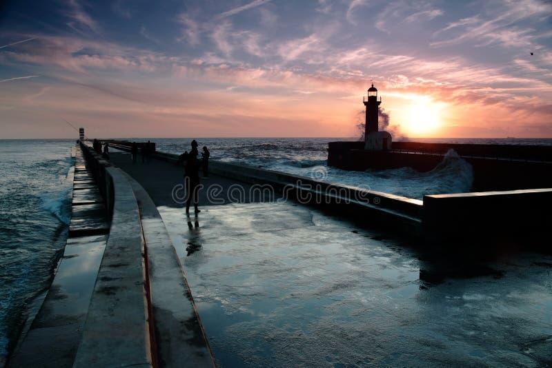 Vuurtoren, Porto Portugal royalty-vrije stock foto