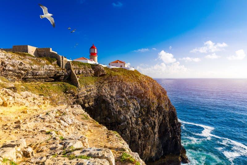 Vuurtoren van Cabo-Sao Vicente, Sagres, Portugal Farol do Cabo Sao Vicente bouwde oktober 1851 Cabo DE Sao Vicente is in royalty-vrije stock afbeeldingen