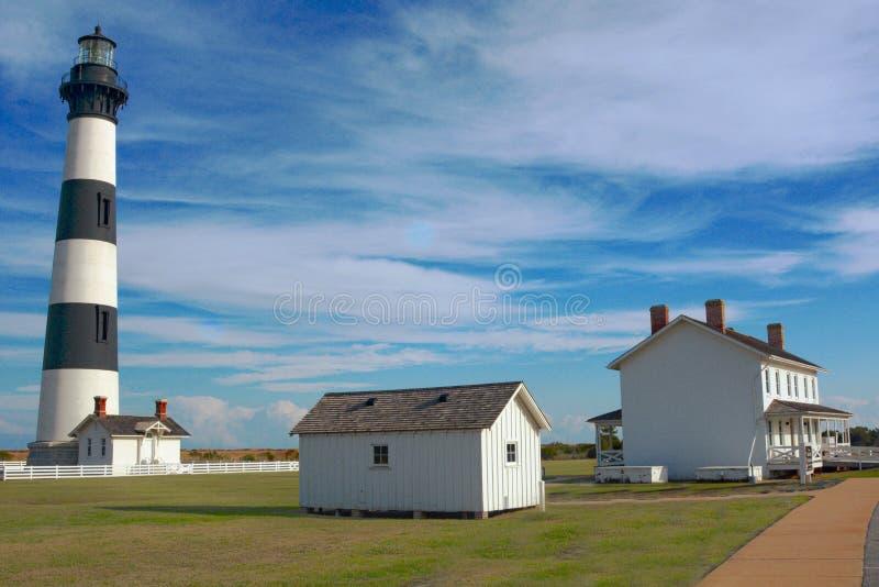 Vuurtoren van de Buitenbanken de 'Bodie Island omvat ook het huis van een bewaarder stock fotografie