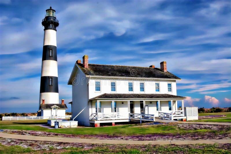 Vuurtoren van de Buitenbanken de 'Bodie Island werd oorspronkelijk aangedreven door olie in zijn nachtdienst royalty-vrije stock afbeeldingen