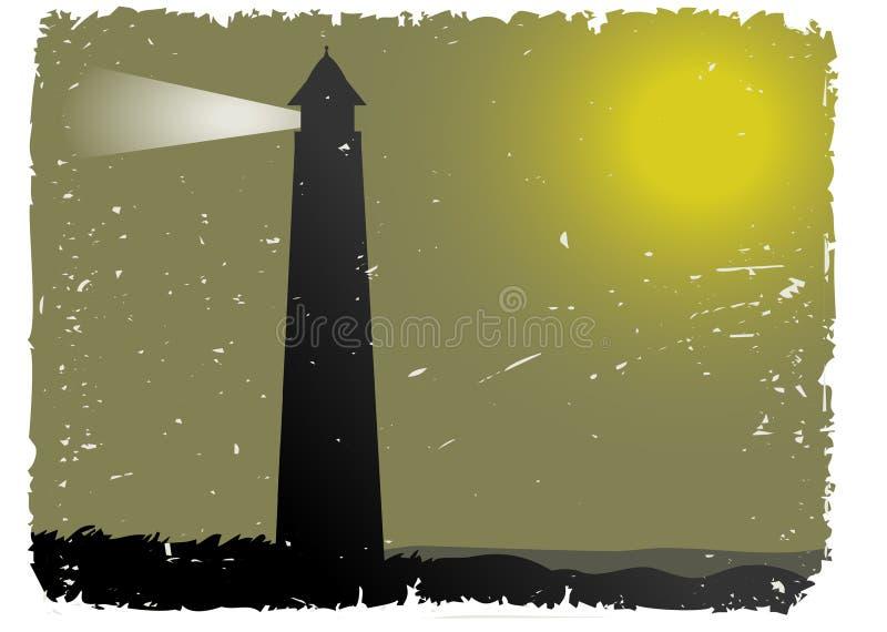 Vuurtoren van de Nacht van Grunge de Mistige door oceaan vector illustratie