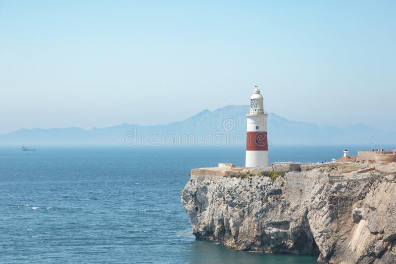 Vuurtoren van Gibraltar in Engeland - Punt van Europa royalty-vrije stock afbeelding
