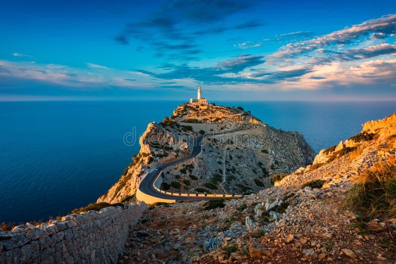 Vuurtoren van GLB DE Formentor Mallorca Spanje rond Zonsondergang royalty-vrije stock fotografie