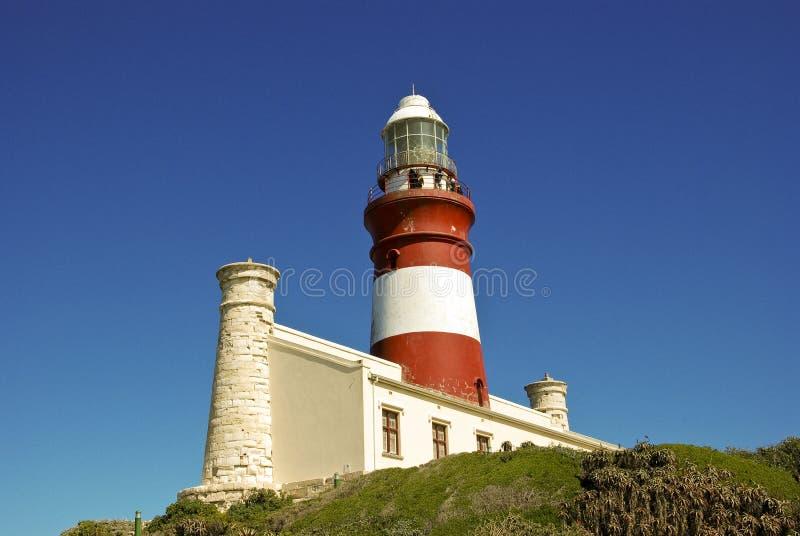 Vuurtoren van Kaap Agulhas (Zuid-Afrika): Meest zuidelijke poin royalty-vrije stock fotografie