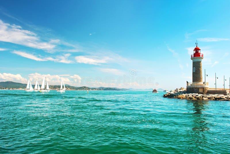 Vuurtoren van St Tropez Mediterraan Landschap Franse rivierera royalty-vrije stock afbeeldingen