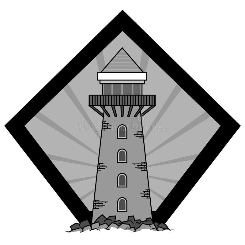 Vuurtoren vectorembleem stock illustratie