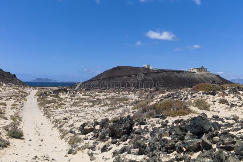 VuurtorenCanarische Eilanden Fuerteventura Los Lobos stock afbeeldingen