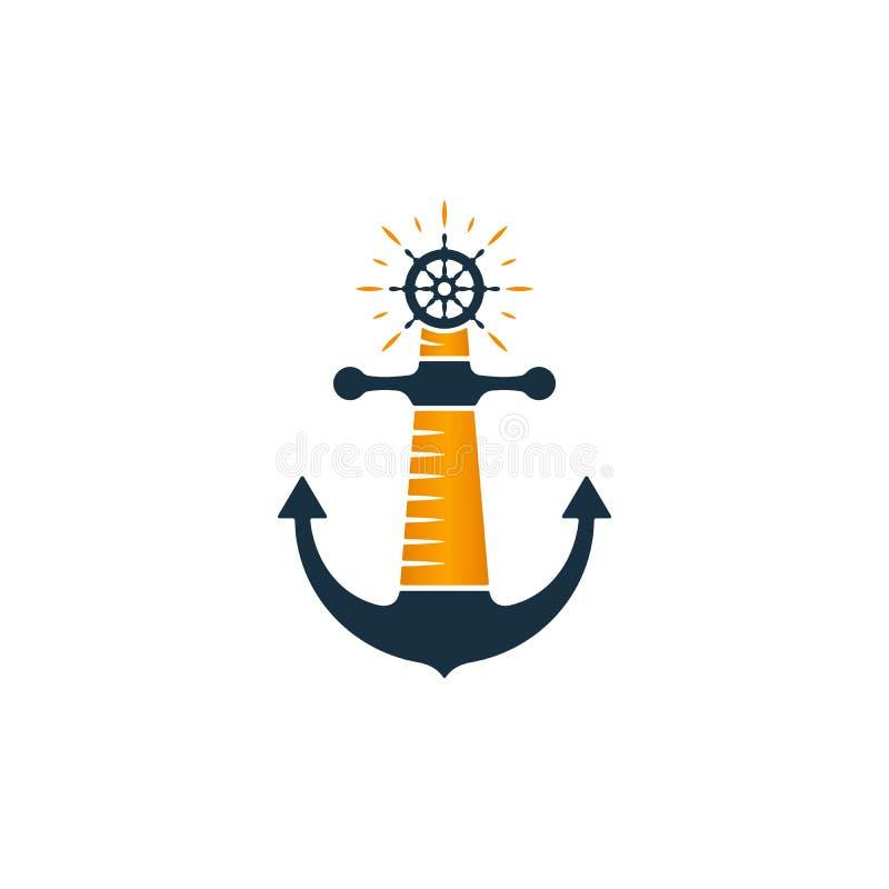 Vuurtorenembleem Vectorvuurtoren, anker en schipwiel royalty-vrije illustratie