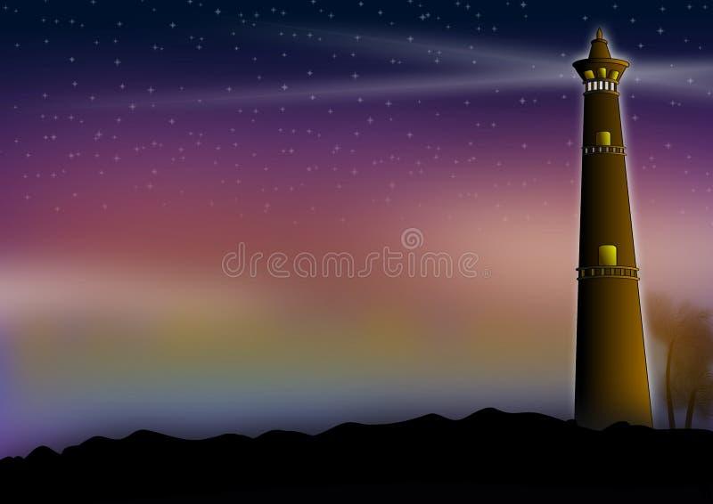 Vuurtorenillustratie in de nachtscène vector illustratie