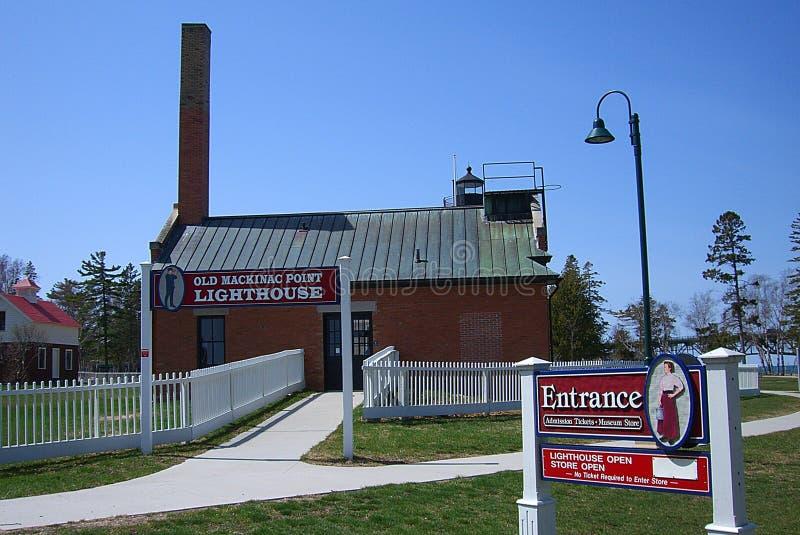 Vuurtoreningang - Oud Mackinac-Punt, Michigan stock foto