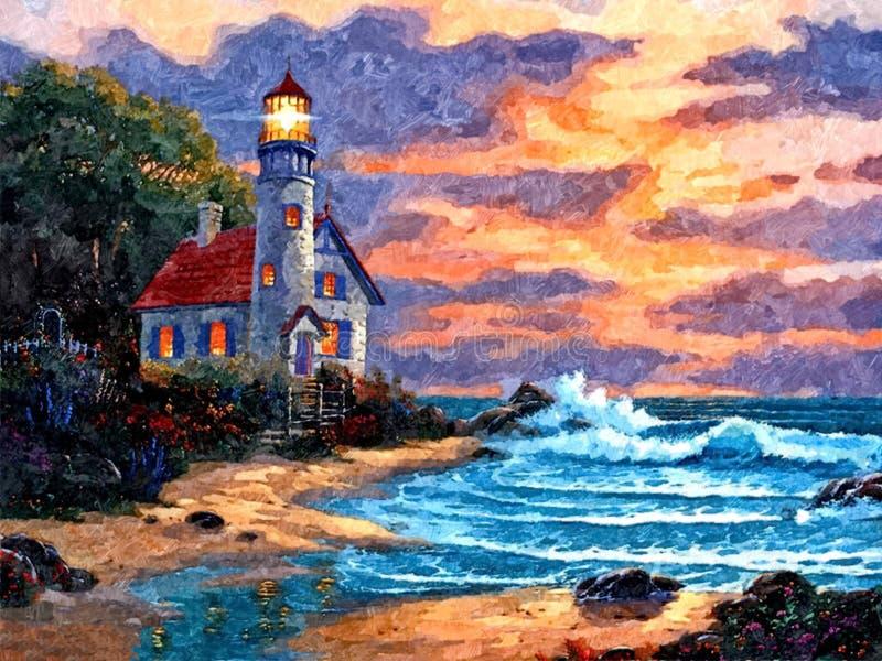 Vuurtorenlicht in de nacht Zeegezicht Het schilderen van natte waterverf op papier Naïef art Tekeningswaterverf op papier vector illustratie