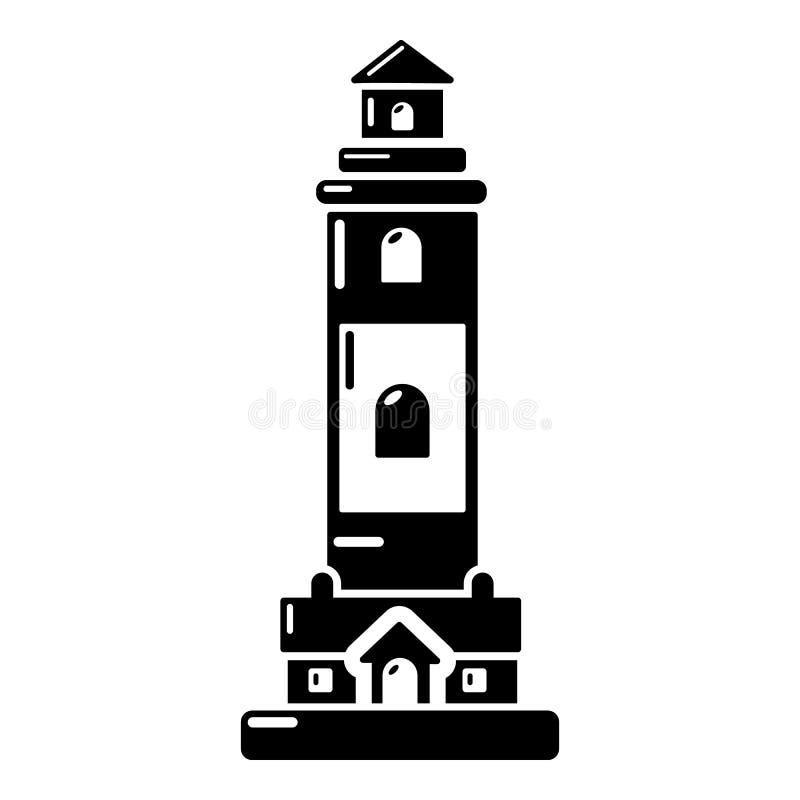 Download Vuurtorenpictogram, Eenvoudige Zwarte Stijl Vector Illustratie - Illustratie bestaande uit baken, strand: 107708905