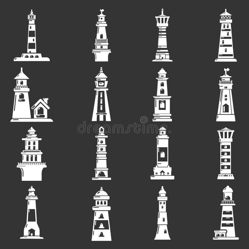 Download Vuurtorenpictogrammen Geplaatst Grijze Vector Vector Illustratie - Illustratie bestaande uit knoop, leading: 114225256
