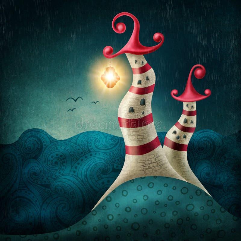 Vuurtorens met lantaarn stock illustratie