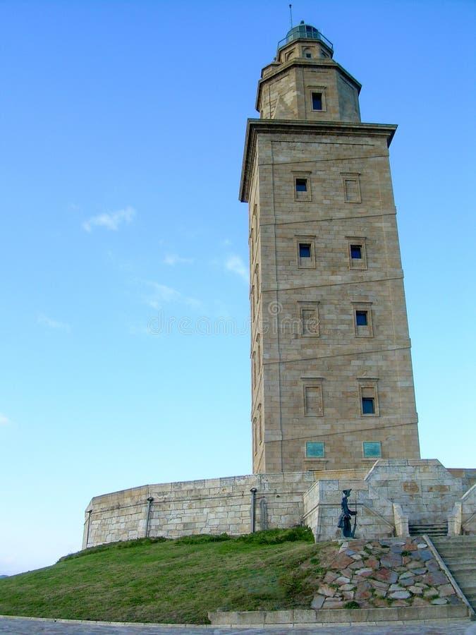 Vuurtorentoren Hercules in Coruña stock fotografie
