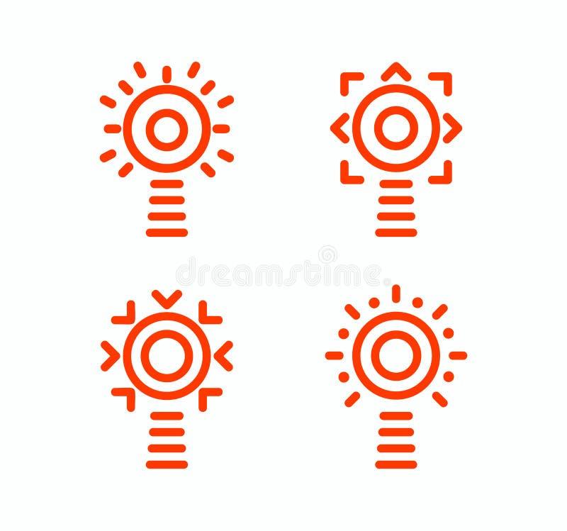 Vuurtorenvector geïsoleerde reeks pictogrammen Stijl van het overzichts de eenvoudige ontwerp Het embleem van het ideeconcept Nav vector illustratie
