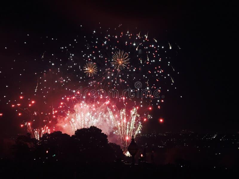Vuurwerk in Alexandra Palace stock fotografie