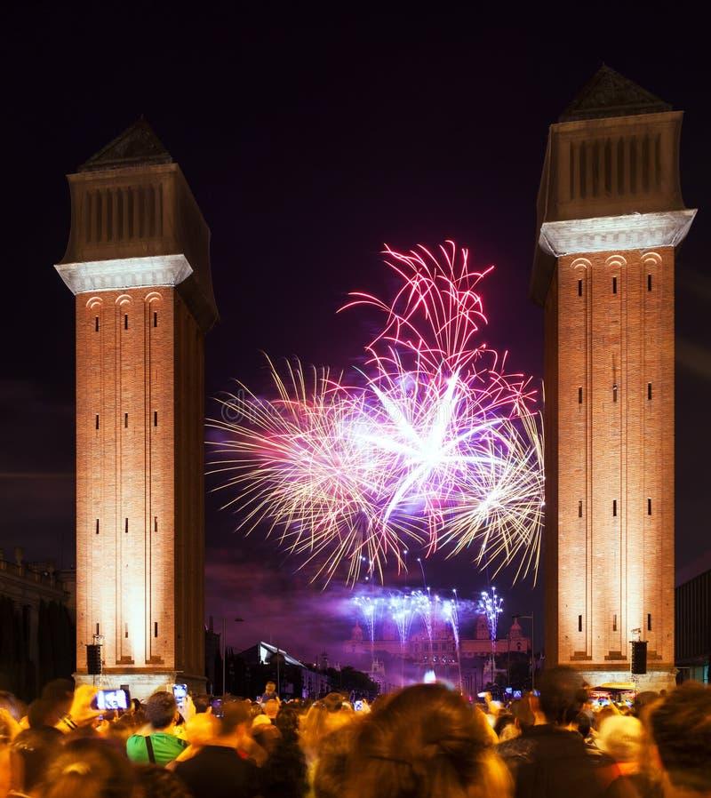 Vuurwerk bij het sluiten van La Merce Festival royalty-vrije stock afbeeldingen