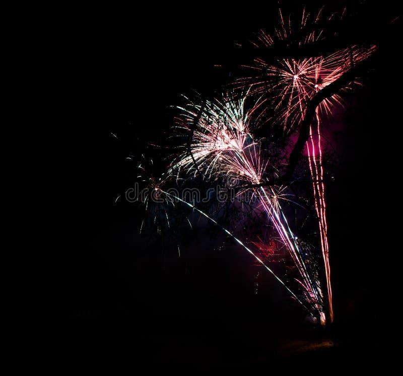 Vuurwerk bij nieuw jaar royalty-vrije stock foto