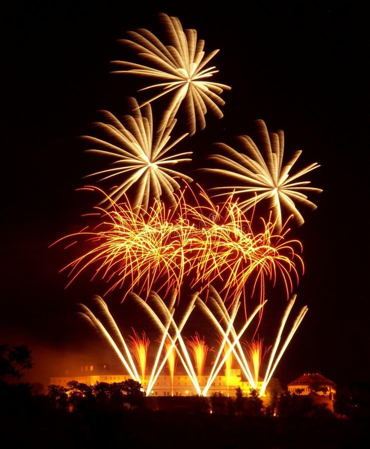 Vuurwerk in Brno stock foto's