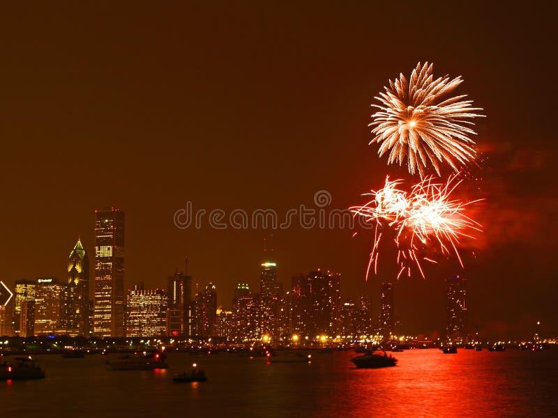 Vuurwerk in Chicago stock fotografie