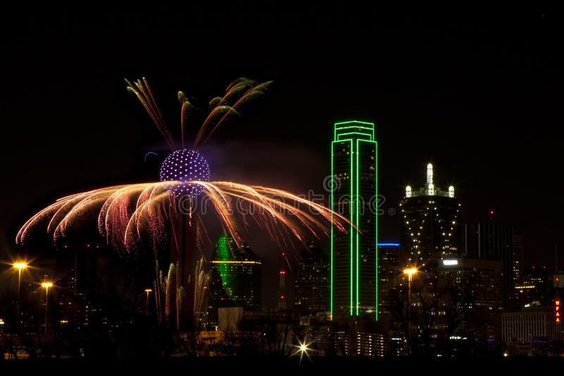 Vuurwerk - Dallas Texas stock afbeeldingen