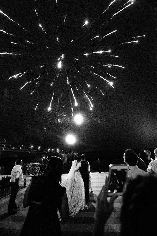Vuurwerk in de nachthemel Multicolored Vuurwerk bij Nacht royalty-vrije stock foto