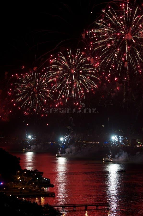 Vuurwerk, de Rivier van Hudson van de Stad van New York royalty-vrije stock foto