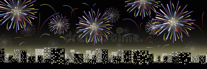 Vuurwerk in de stad stock illustratie