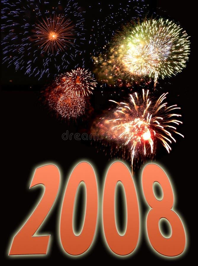 Vuurwerk en nieuwe jaartekst 2 royalty-vrije stock fotografie
