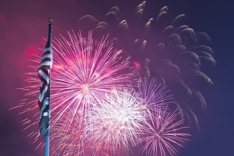 Vuurwerk en Vlag stock foto's