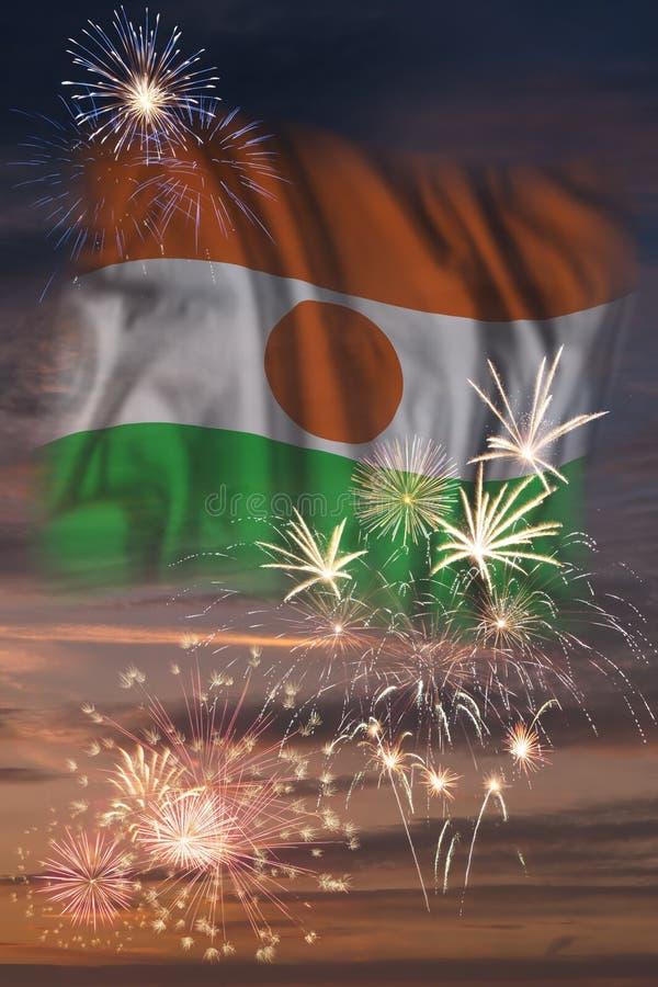 Vuurwerk en vlag van Niger royalty-vrije illustratie