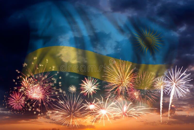 Vuurwerk en vlag van Rwanda stock foto