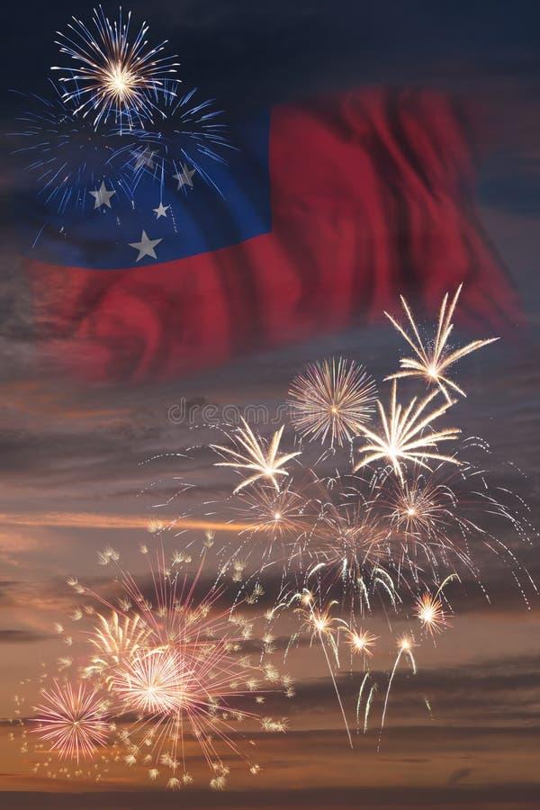 Vuurwerk en vlag van Samoa stock illustratie