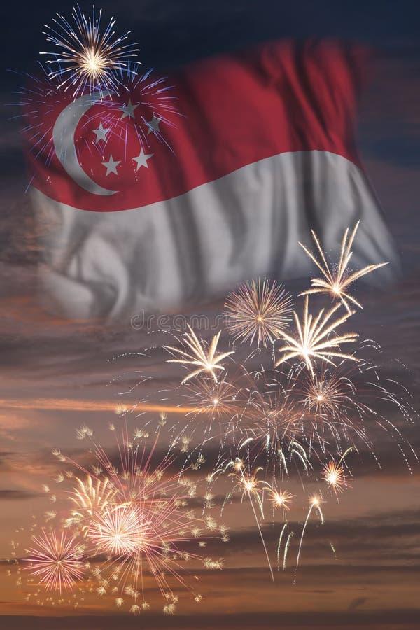 Vuurwerk en vlag van Singapore stock afbeeldingen