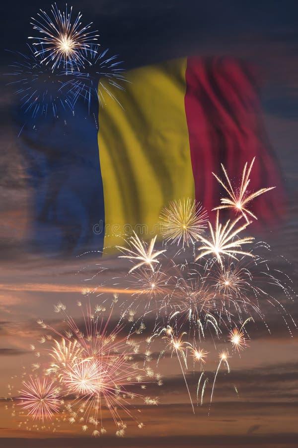 Vuurwerk en vlag van Tsjaad vector illustratie