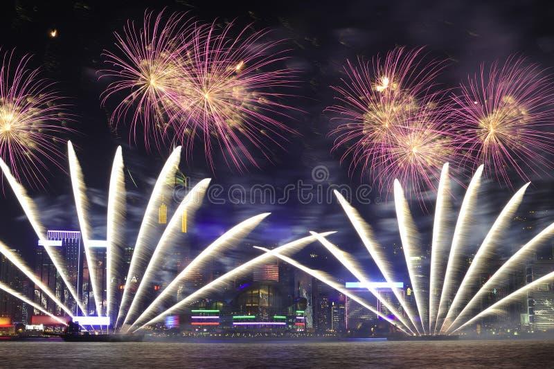 Vuurwerk in Hongkong 2011 royalty-vrije stock fotografie
