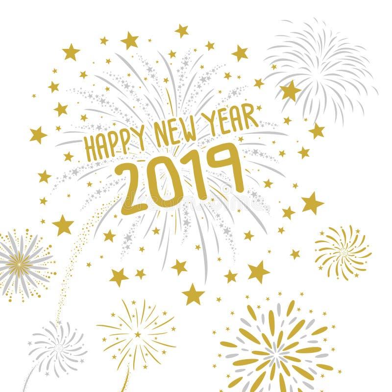 Vuurwerk met Gelukkig nieuw jaar 2019 op witte achtergrond vector illustratie