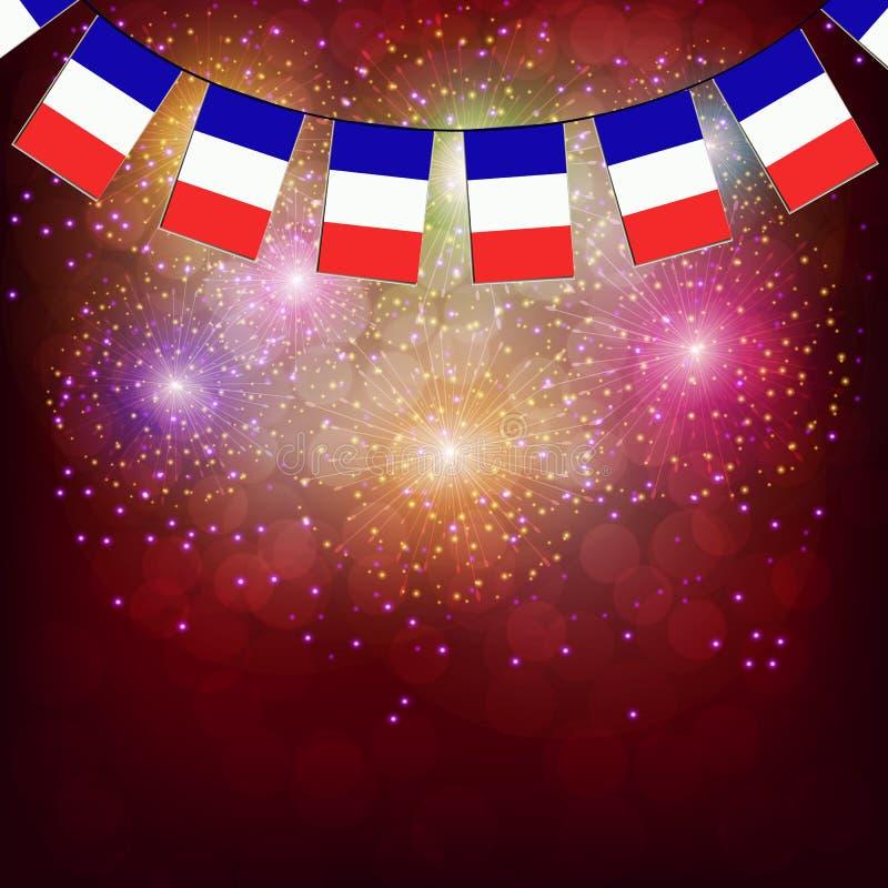 Vuurwerk met vlaggen Frankrijk Illustratie stock illustratie