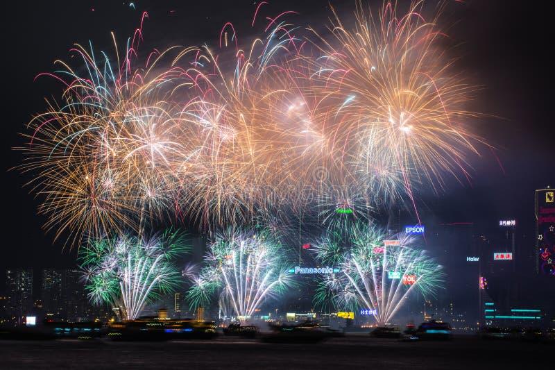 Vuurwerk op de Haven van Victoria stock foto