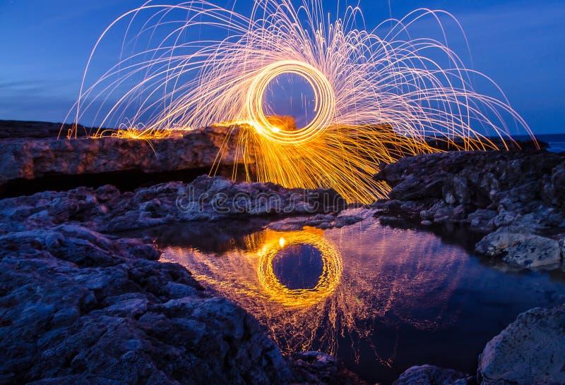 Vuurwerk op de kust van de Zwarte Zee royalty-vrije stock afbeelding